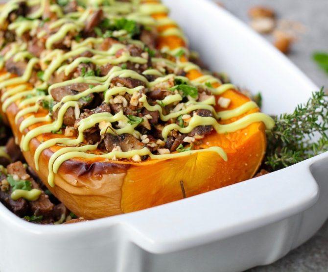 Vegan Kerst: Geroosterde Pompoen met Champignons (Glutenvrij, Paleo, Low Carb) - 1