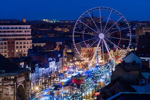 kerstmarkt, kerstmis, vakantie, feestdagen, gezellig, brussel