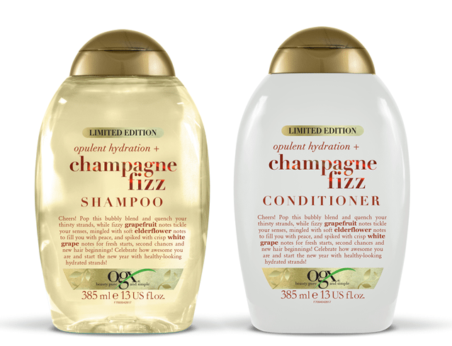 Champagne Fizz shampoo en conditioner van OGX, limited edition setje, € 19,99