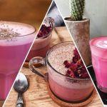 roze latte pink latte koffie