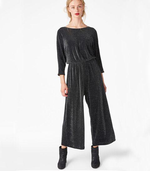shopping glitter jumpsuit zwart zilver silver monki