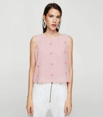 cute shopping roze hartjes hart crop top mango