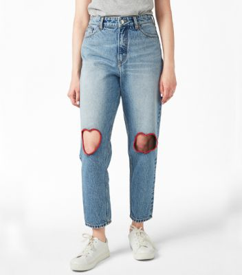 cute shopping roze hartjes hart jeans denim cut out monki