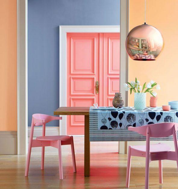 interieur, deco, sorbet, ijs, pastel, fifties, modern, kleur, trend, 2018, citroen, turquoise, accessoires, muur, verf