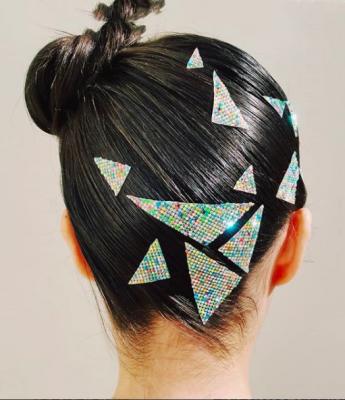 festival, trend, haar, glitter, geometrisch, juwelen, 2018