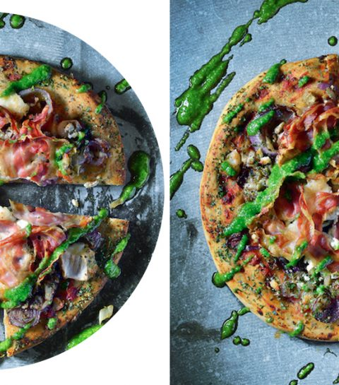 Bloemkoolpizza met witloof, pancetta en roodhoornwier