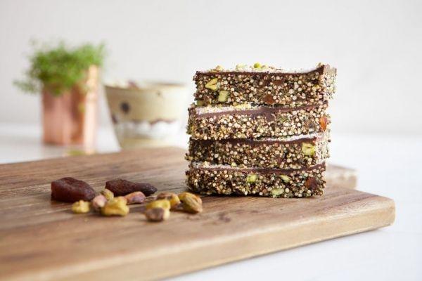 abrikoos chocolade vegan granola reep