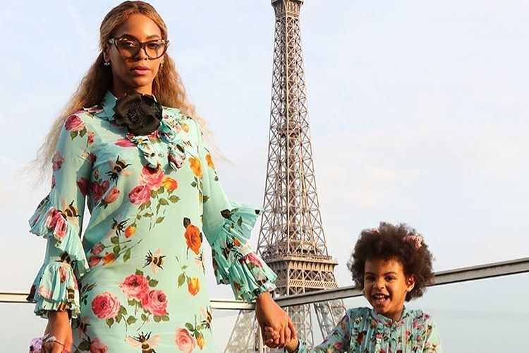 beyonce blue gucci matching outfits