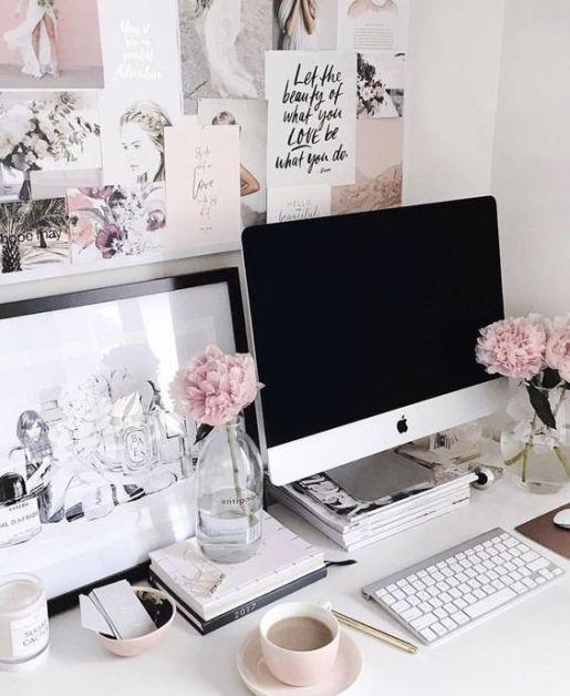bureau, kantoor, kot, studeren, werken, accessoire, decoratie, inspiratie, goud, roze