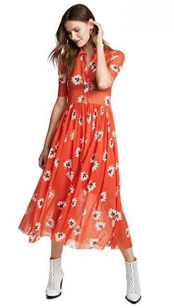 ganni jurk bloemen shopbop zomer herfst