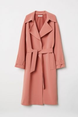 h&m oudroze trenchcoat
