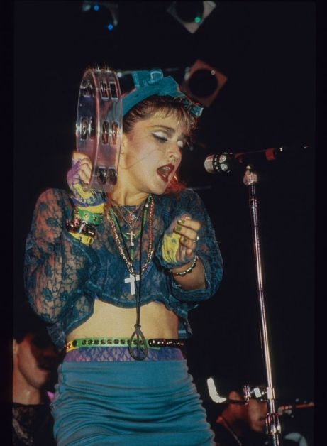 Madonna on stage for her 1985 Virgin Tour.