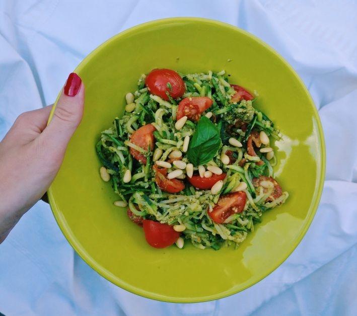 gezond koken op kot courgette pasta