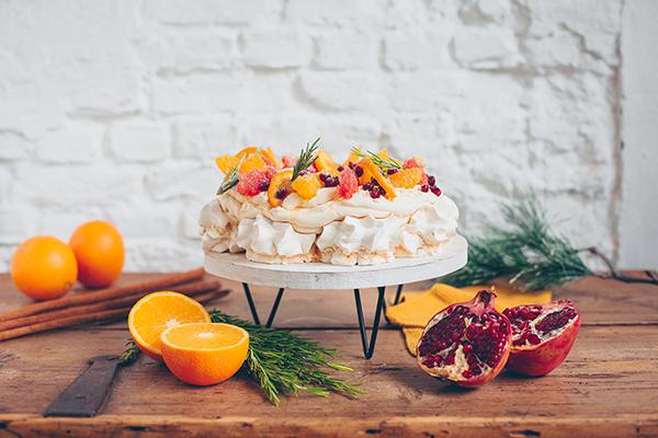 kerstmis, recept, dessert, taart, pavlova, citrus, julies house