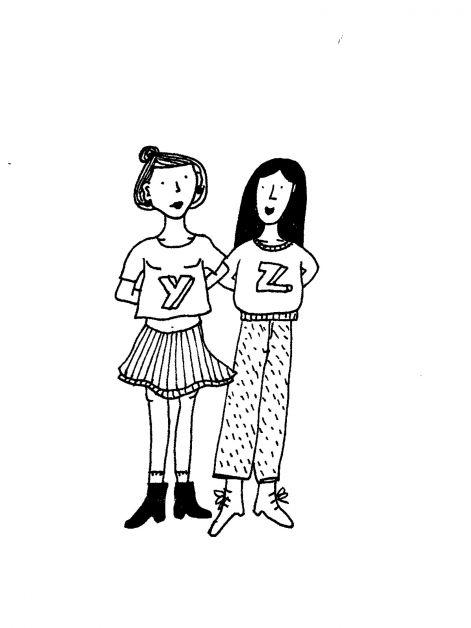 keuzestress, meisjes, illustratie