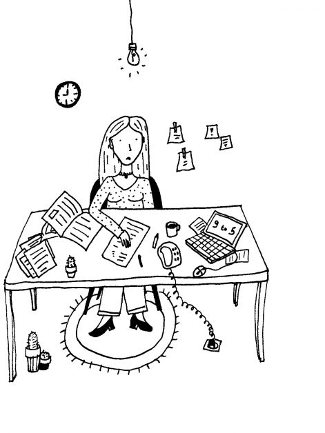 keuzestress, meisje, illustratie