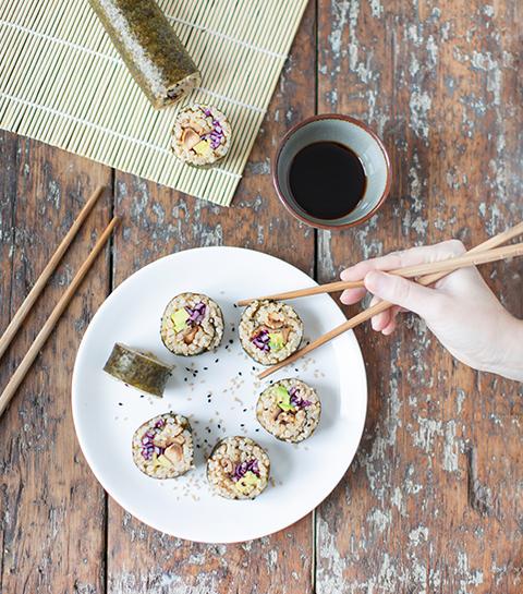 Vegetarische maki met shiitake en avocado