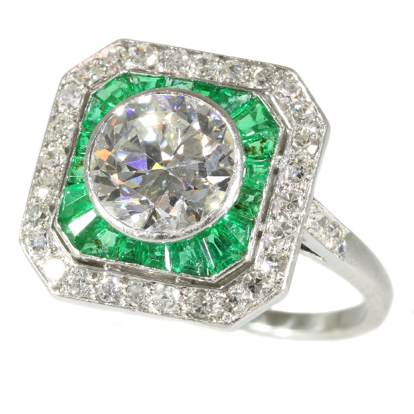 Art deco verlovingsring met diamant en smaragd