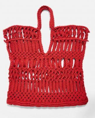 macramé handtassen topshop_rood