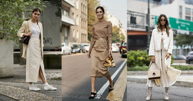 beige outfits streetstyle rok