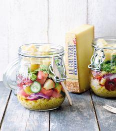 Salade van komkommer, watermeloen en nectarine met Gruyère AOP Classic