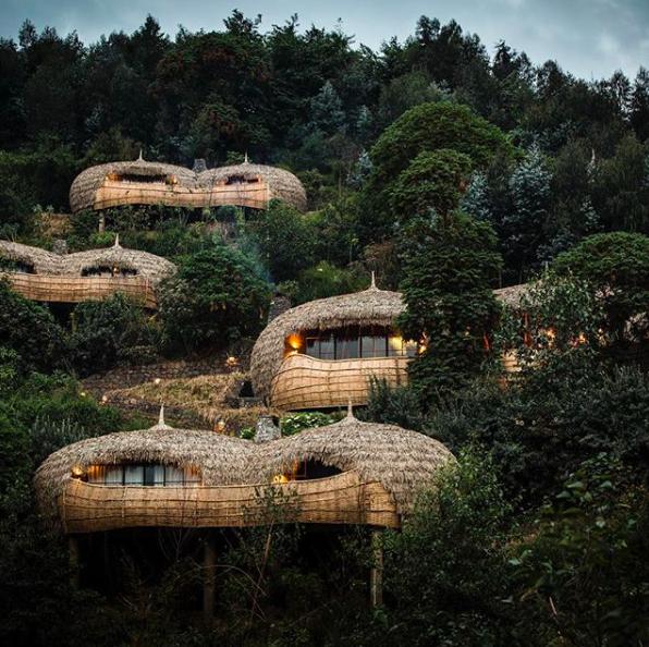 Boomhut-Hotels, Bisate Lodge, Rwanda