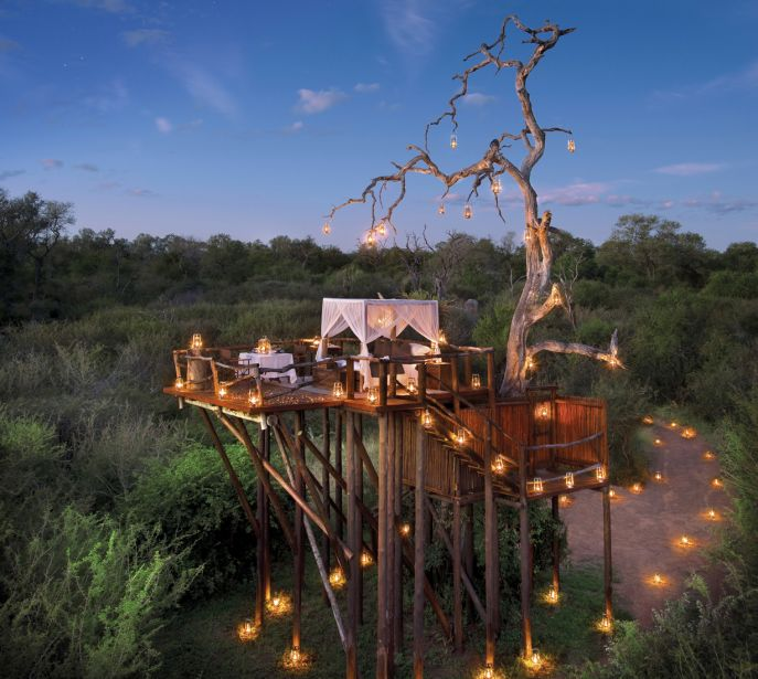 Boomhut-Hotels, Lion Sands Game Reserve, Zuid-Afrika