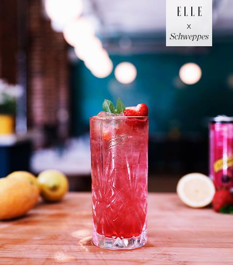 Mocktail op basis van frambozen en Schweppes Russchian