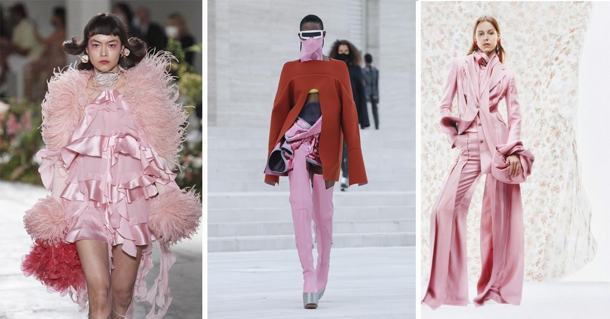 roze outfit catwalk trendkleur 2021 lente