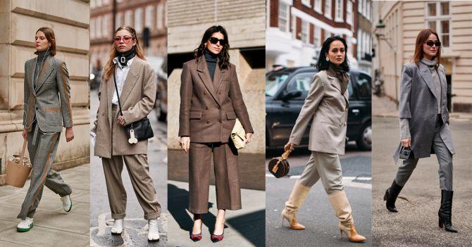 zakelijke kostuums broekpakken grijs geruit