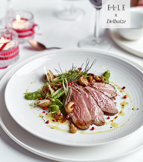 Recept: Salade met eendenborst, duo van erwtjes en escabeche van champignons