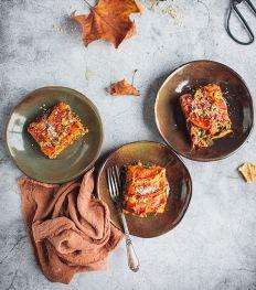 Herfstige lasagne met spinazie en pompoen