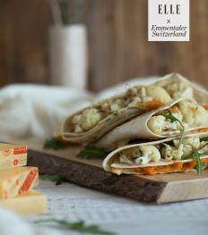 Quesadilla, humus, geroosterde bloemkool en Emmentaler AOP