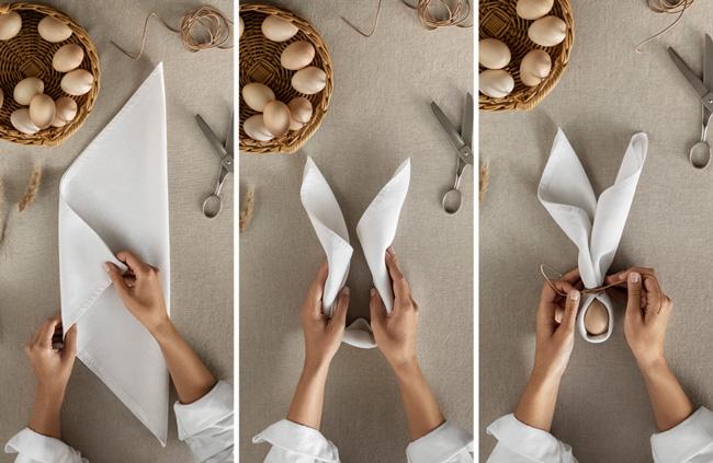 3 stappen, servetten vouwen, Pasen, H&M Home