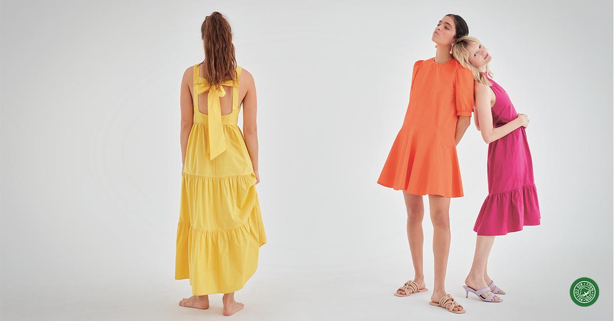Gele jurk, €39,99 Oranje mini-jurk €39,99 Fuchsia jurk €39,99