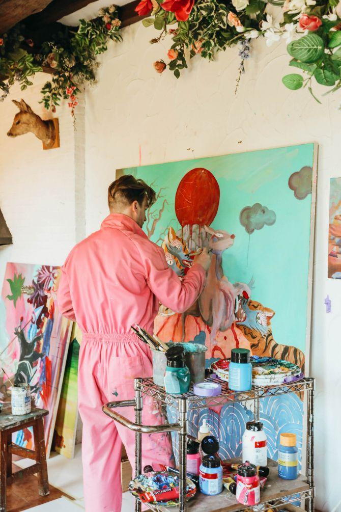 Geert Koekoeckx, schilder, roze, curiosa