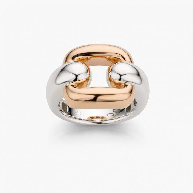 Link-ring in zilver en roségoud
