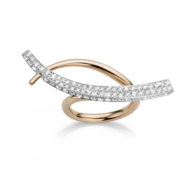 Wave-ring in rosé- en witgoud bezet met diamanten